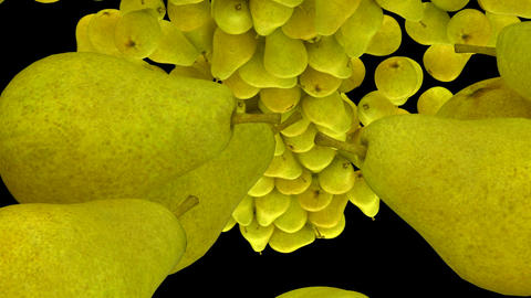 Pears flow with slow motion over black, Alpha channel is... Stock Video Footage