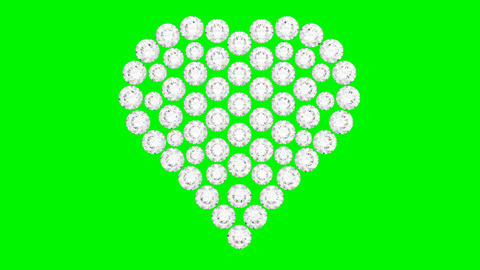 Diamonds heart shape assembling and exploding with slow... Stock Video Footage