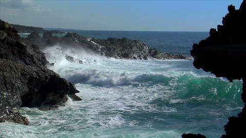 waves on vulcan island audio Stock Video Footage