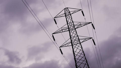 Timelapse loop of electricity tower Stock Video Footage