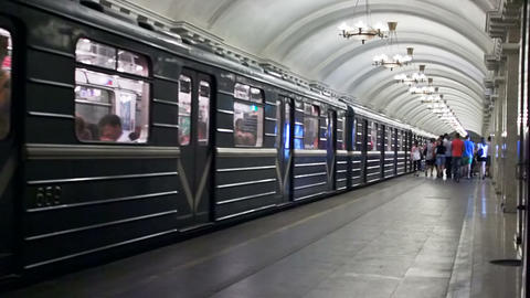 Pushkinskaya, train leave, St. Petersburg, Russia Stock Video Footage