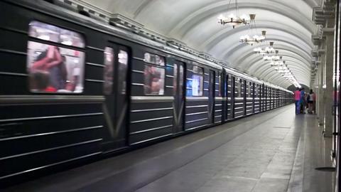 Pushkinskaya, train leave, St. Petersburg, Russia Footage