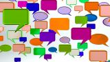 Warm Colorful Conversation Icons stock footage