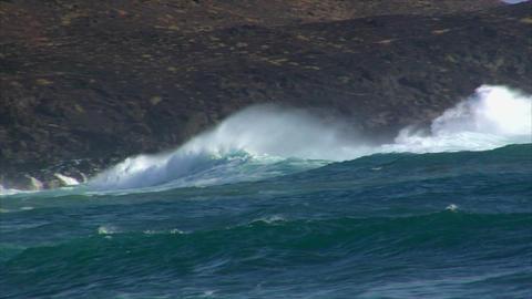 big cyan wave rolling spry crash Stock Video Footage