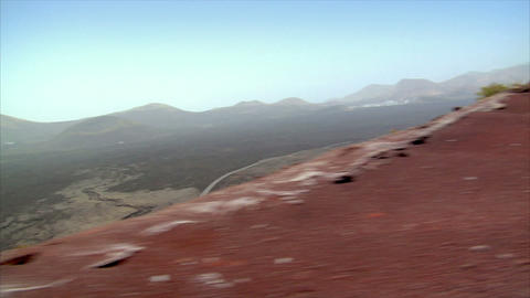 drive high on volcanic crater area Stock Video Footage