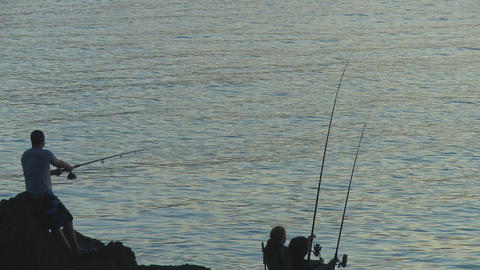 night cast by fisherman Stock Video Footage