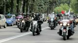 A Large Group Of Motorcyclists Traveling On The Road stock footage