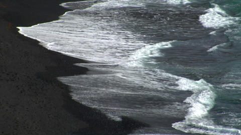 el golfo waves on black lava beach background Footage