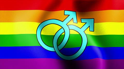 waving rainbow flag mars male sign Stock Video Footage