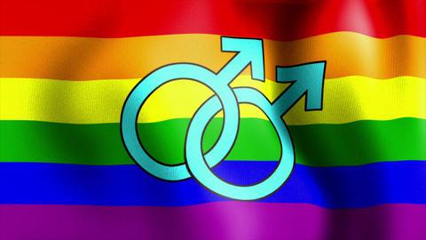 waving rainbow flag mars male sign Animation