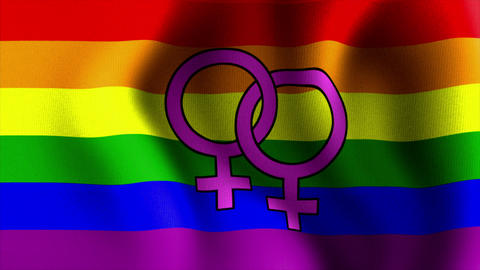 waving rainbow flag venus female sign Stock Video Footage
