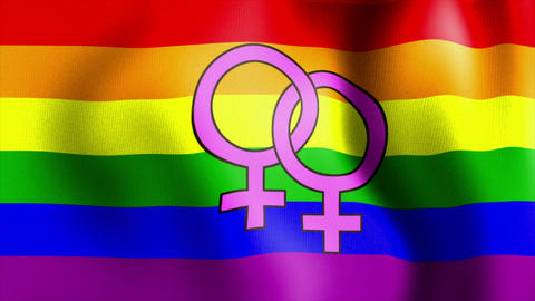 Waving Rainbow Flag Venus Female Sign stock footage