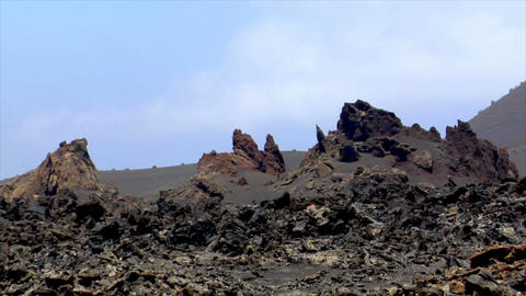tilt volcanic ground to bizzar crater vent Stock Video Footage