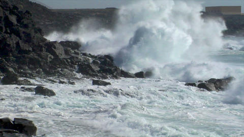 extreme wave bomb crushing coastline XXL audio Footage