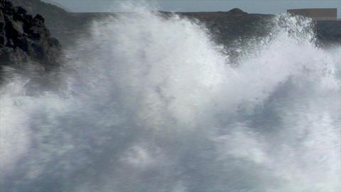 extreme wave bomb crushing coastline XXL audio Stock Video Footage