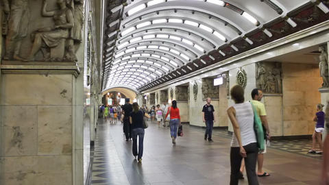 Narvskaya, subway station, St. Petersburg, Russia Footage