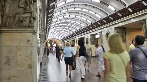 Narvskaya, subway station, St. Petersburg, Russia Stock Video Footage