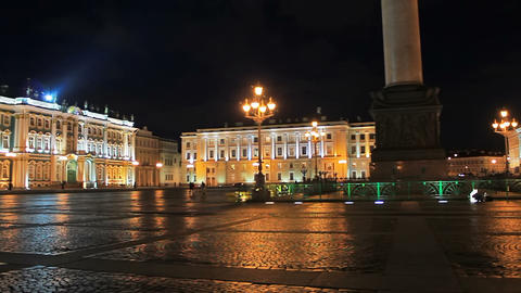 Night at the Palace Square Stock Video Footage