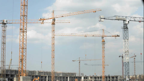 tower crane at a construction site Stock Video Footage