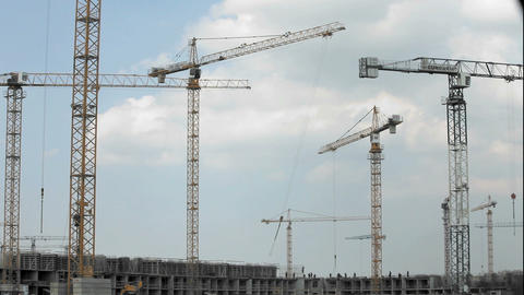 Tower Crane At A Construction Site stock footage