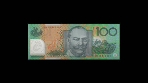 Zooming into Australian 100 dollar note Stock Video Footage