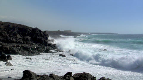 extreme wave crushing coastline wide Stock Video Footage