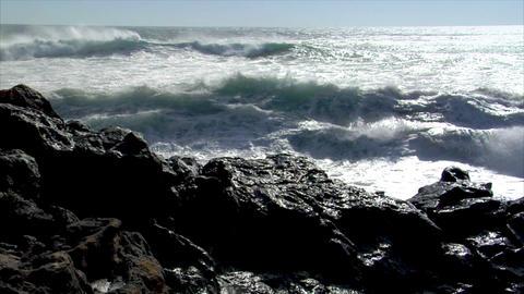 big waves splashing on windy day Stock Video Footage