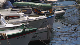 Harbor, detail of parked small boats Stock Video Footage