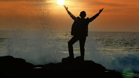 business man reach hands sundown sky wave Stock Video Footage