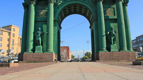 Narva Triumphal Gate, landmark Stock Video Footage