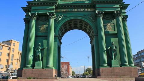 Narva Triumphal Gate, landmark Stock Video Footage