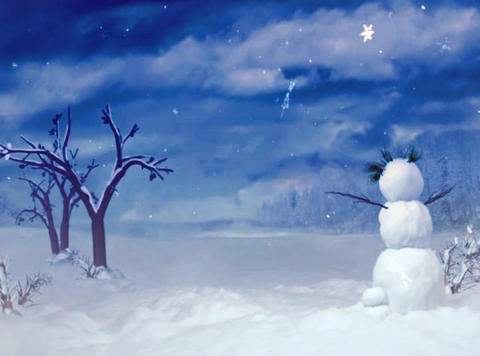 snowman blue sky Animation