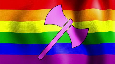 waving rainbow flag labrys sign Stock Video Footage