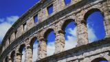 Roman Amphitheater In Pula, Croatia stock footage