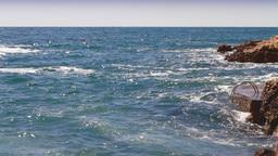Waves hitting the rocky coastline Stock Video Footage
