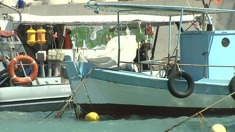 fishing boats at port Stock Video Footage