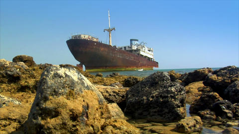 shipwreck on ground Stock Video Footage