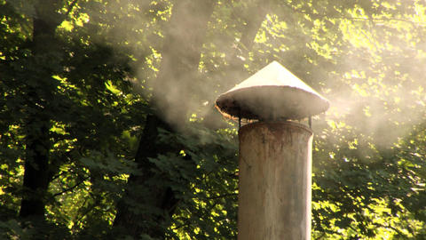 Chimney Smoking Woods Close Up Footage