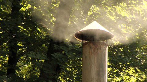 Chimney Smoking Woods Close Up Stock Video Footage