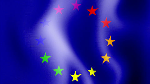 waving rainbow euro flag Stock Video Footage