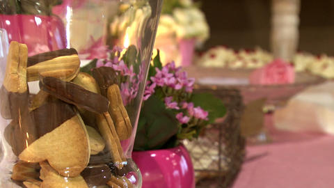 Wedding Biscuits Flowers And Candles stock footage