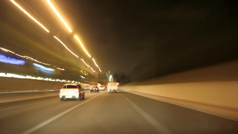 Night Highway Camera Car Time Lapse High Speed Live Action