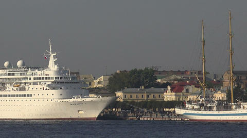 White liner ship at the pier in St. Petersburg Footage
