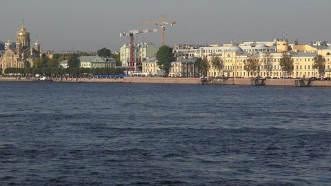 Lieutenant Schmidt Embankment in St. Petersburg Footage