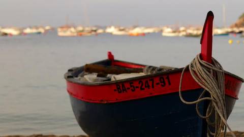 Fishing Boat On The Sand Rack Focus 01 stock footage