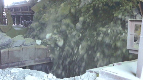 Railway Car Pours Stones. Unloading Of Trains stock footage