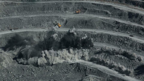 Explosion rocks in a quarry. Mining Footage