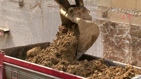 Work Bulldozer Filling Dump Truck Live Action