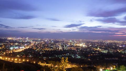 City at dusk. Almaty, Kazakhstan. TimeLapse. 1280x Footage