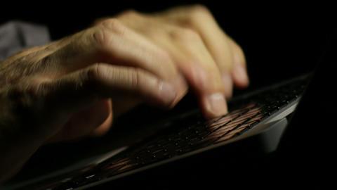 Laptop Writer Writing his Novel Late at Night ビデオ